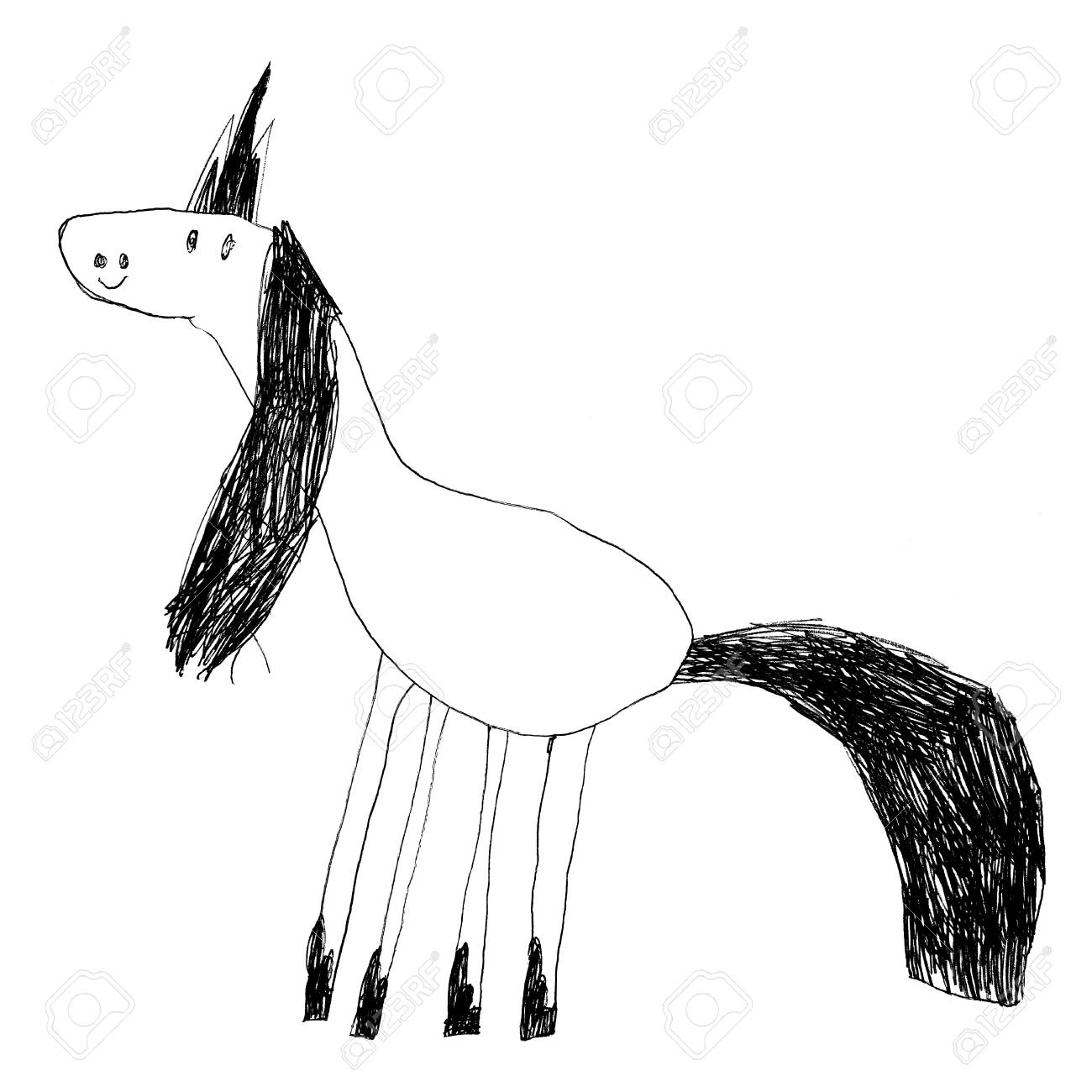 Sketch drawing of a cute unicorn kids pencil stock photo 68348959