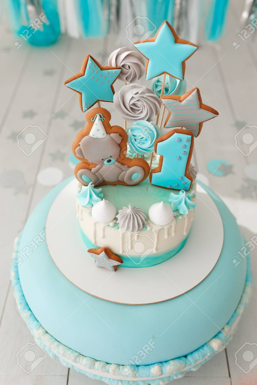 Birthday Cake Decorated With Gingerbread Bear And Star Close