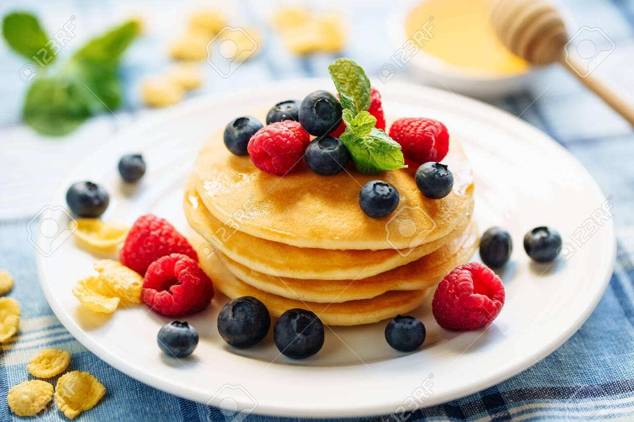 Pancake Blueberry Fried Dessert Stack Breakfast - 126728897