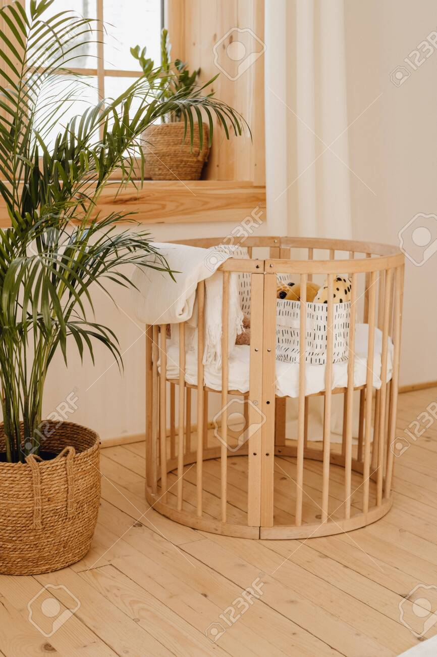 Wooden Baby Bed Crib In Eco Friendly Cozy Interior Stock Photo Picture And Royalty Free Image Image 126730153