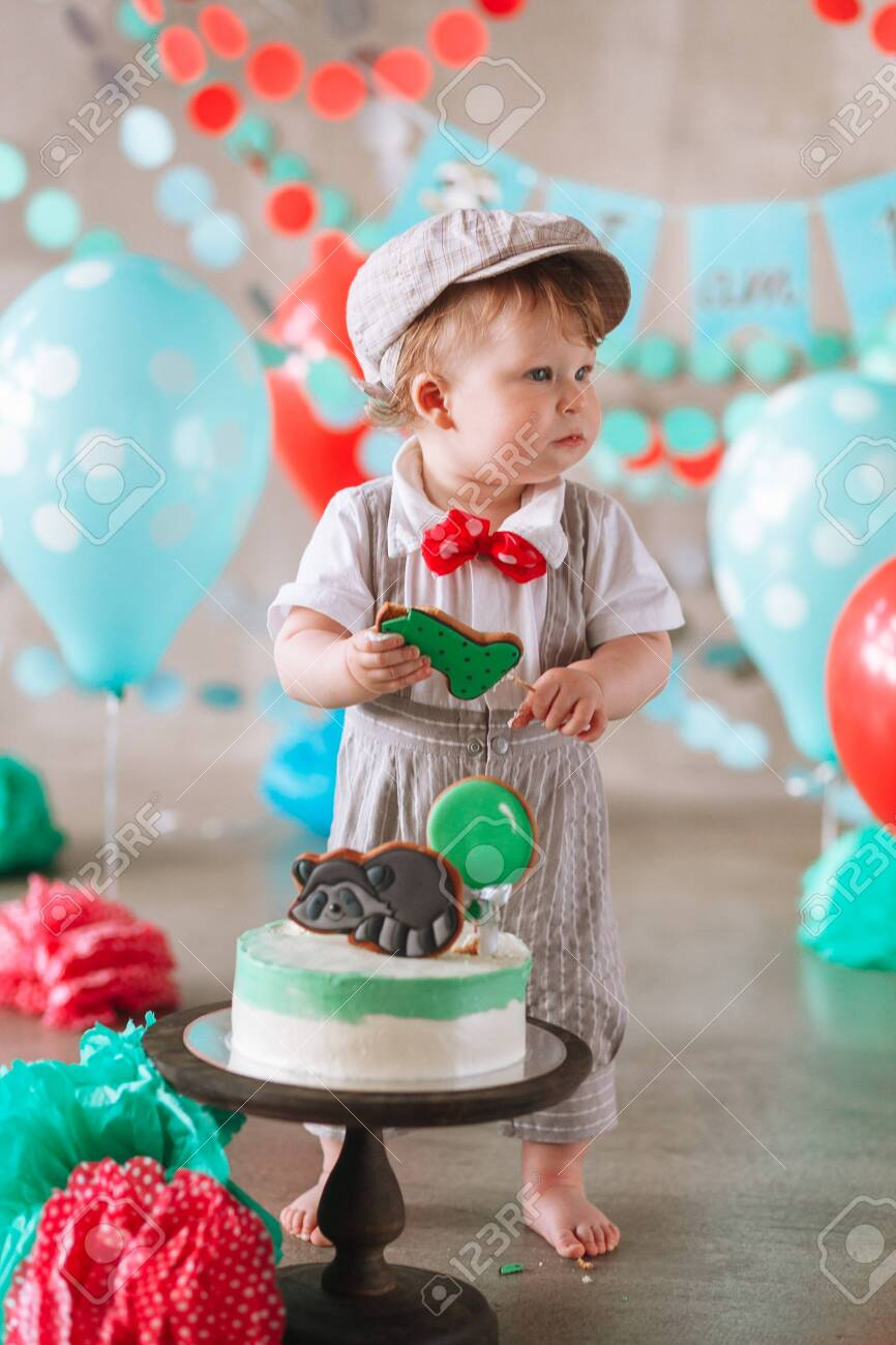 Phenomenal Adorable Happy Baby Boy Eating Cake One At His First Birthday Cake Personalised Birthday Cards Cominlily Jamesorg