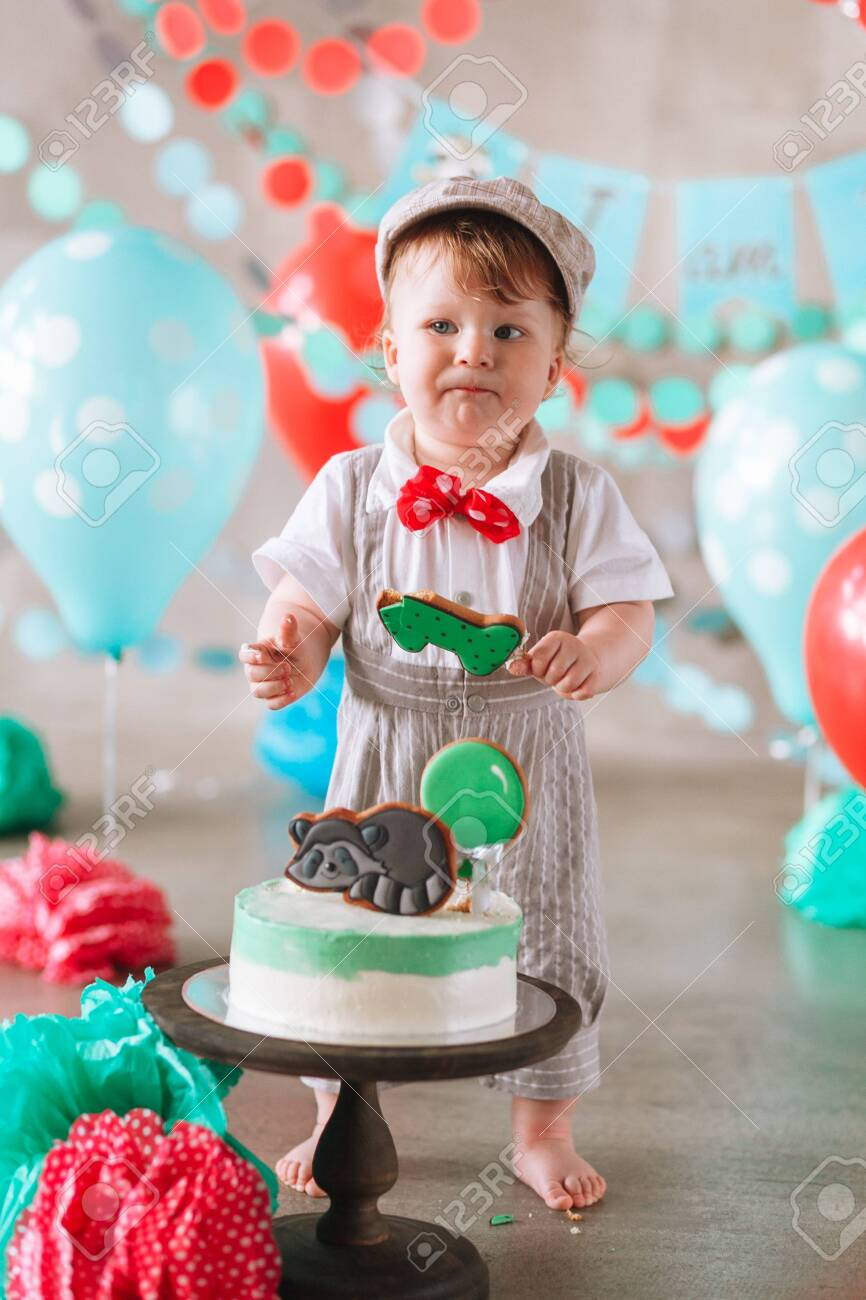 Surprising Adorable Happy Baby Boy Eating Cake One At His First Birthday Funny Birthday Cards Online Inifofree Goldxyz