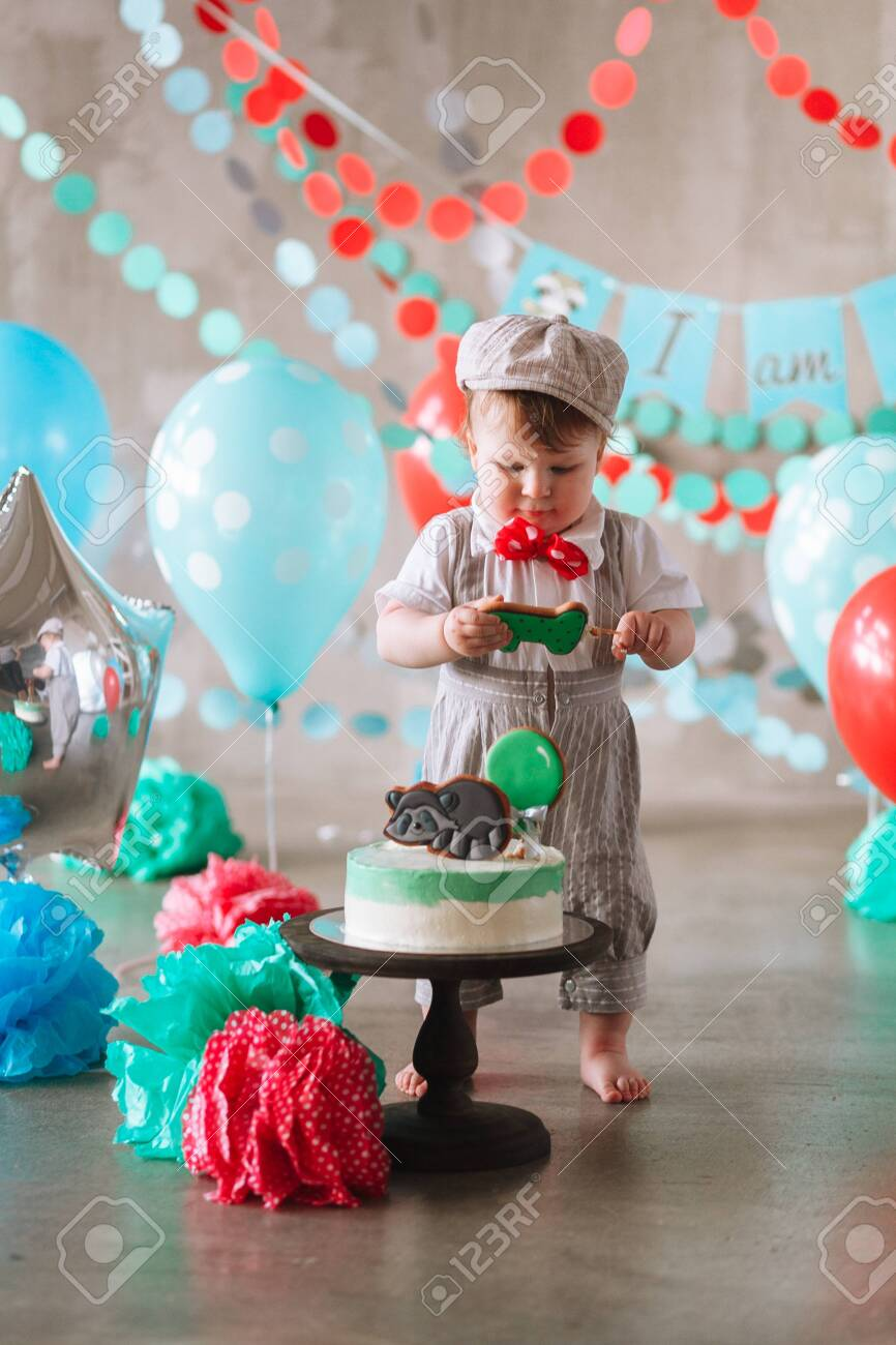 Super Adorable Happy Baby Boy Eating Cake One At His First Birthday Personalised Birthday Cards Beptaeletsinfo
