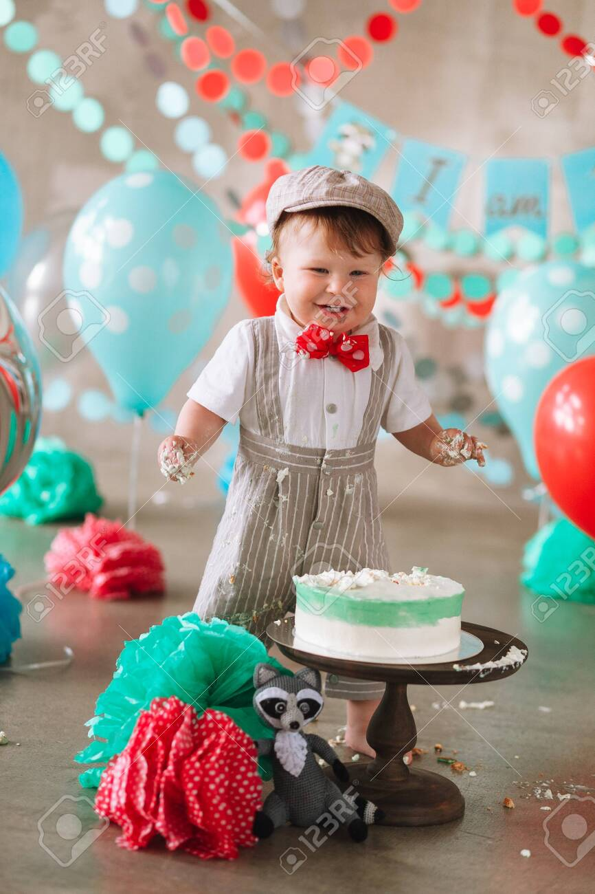 Outstanding Laughing Baby Boy In His First Birthday Cake Smash Messy Dirty Funny Birthday Cards Online Inifofree Goldxyz