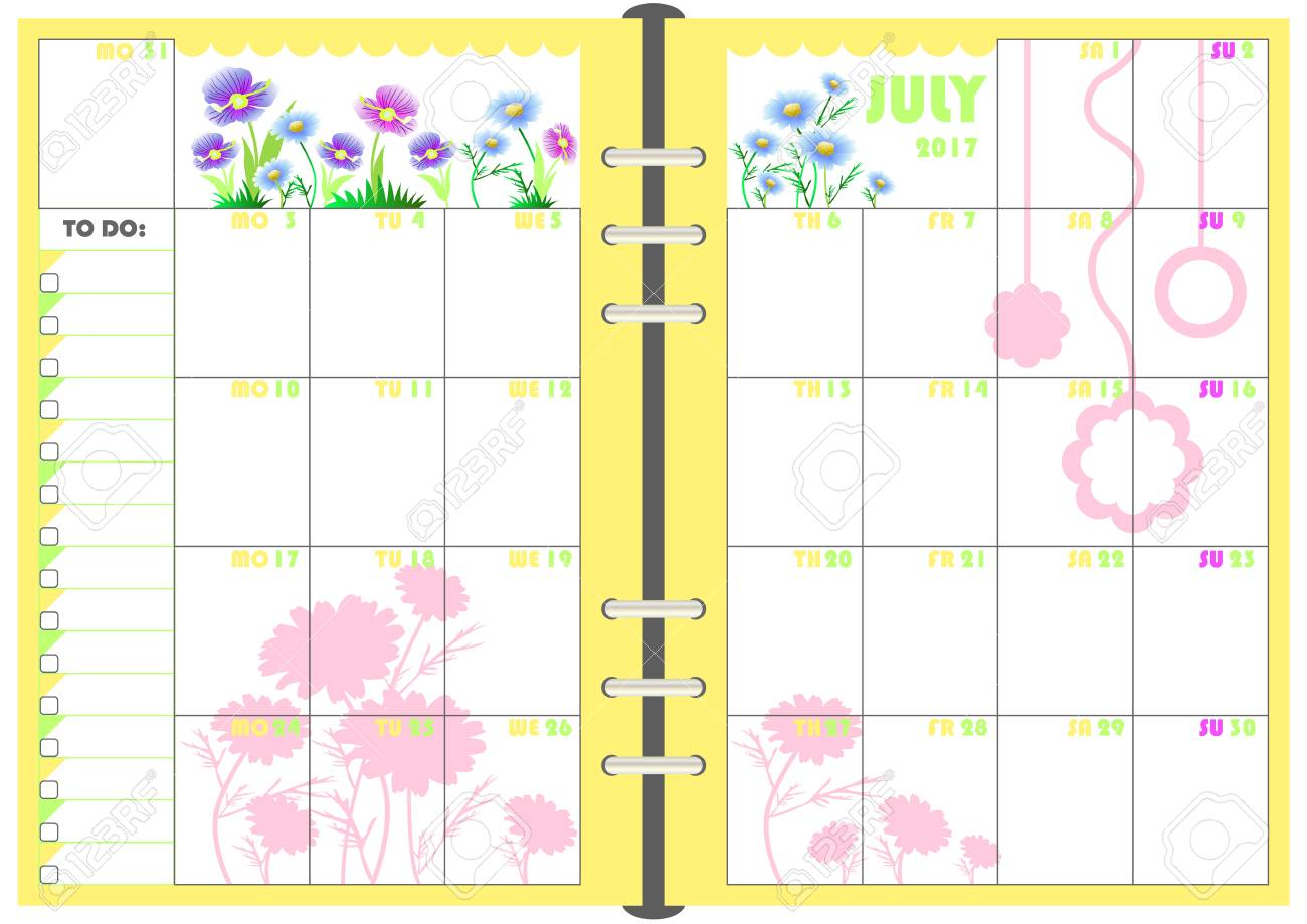 calendar daily planner template for monthly july 2017 note paper