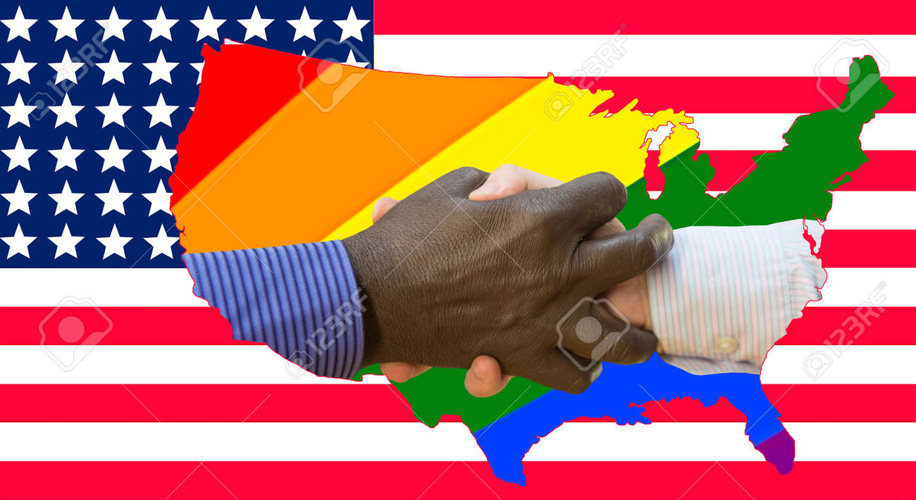 Black lives matter. Close up photo of a handshake between afroamerican and european hands. Handshake in front of us flag and rainbows. - 152706160