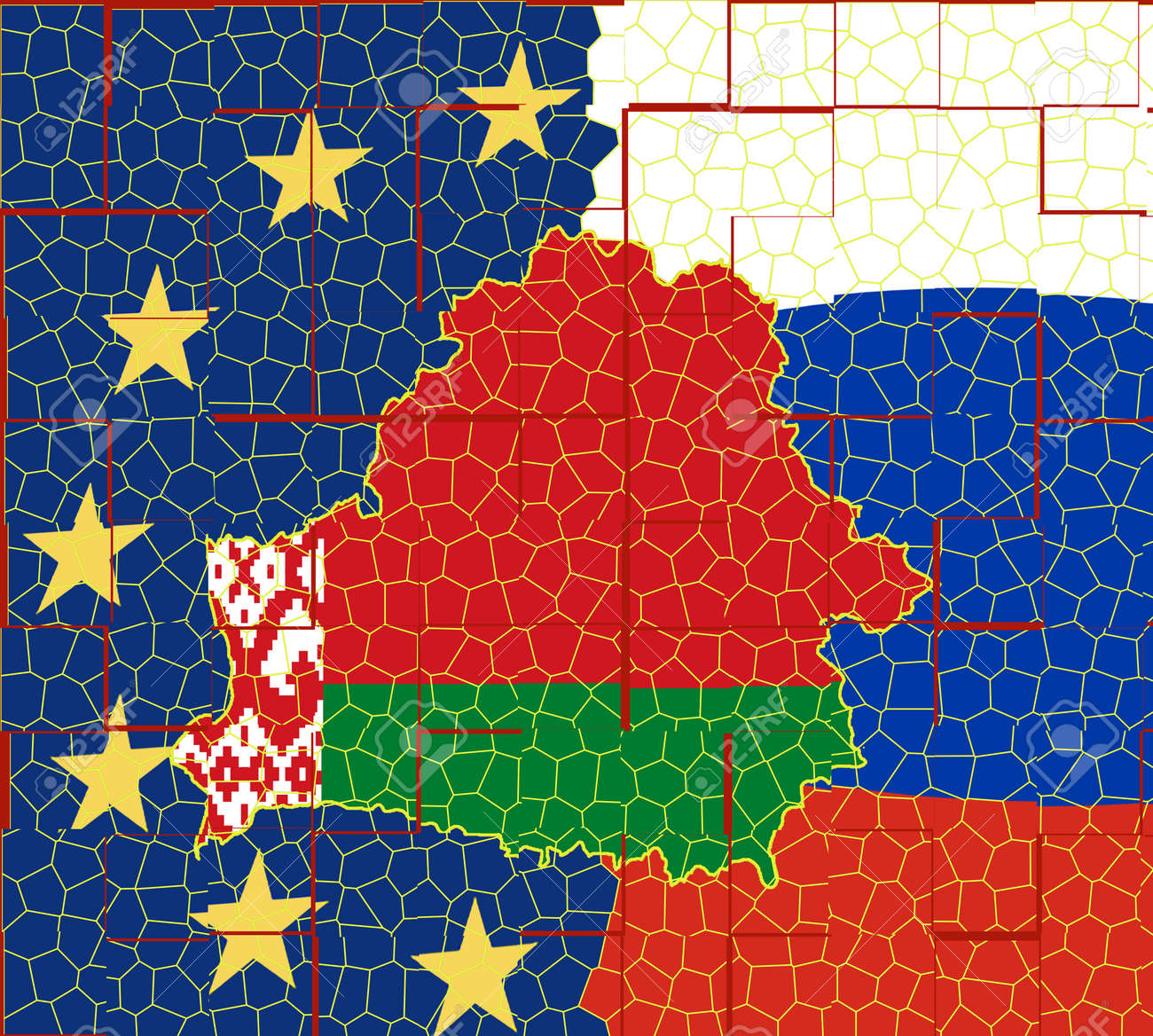 The flag of Belarus is inscribed in the contour map of the country. Map on the background of the flags of European Union and Russia. - 153359114