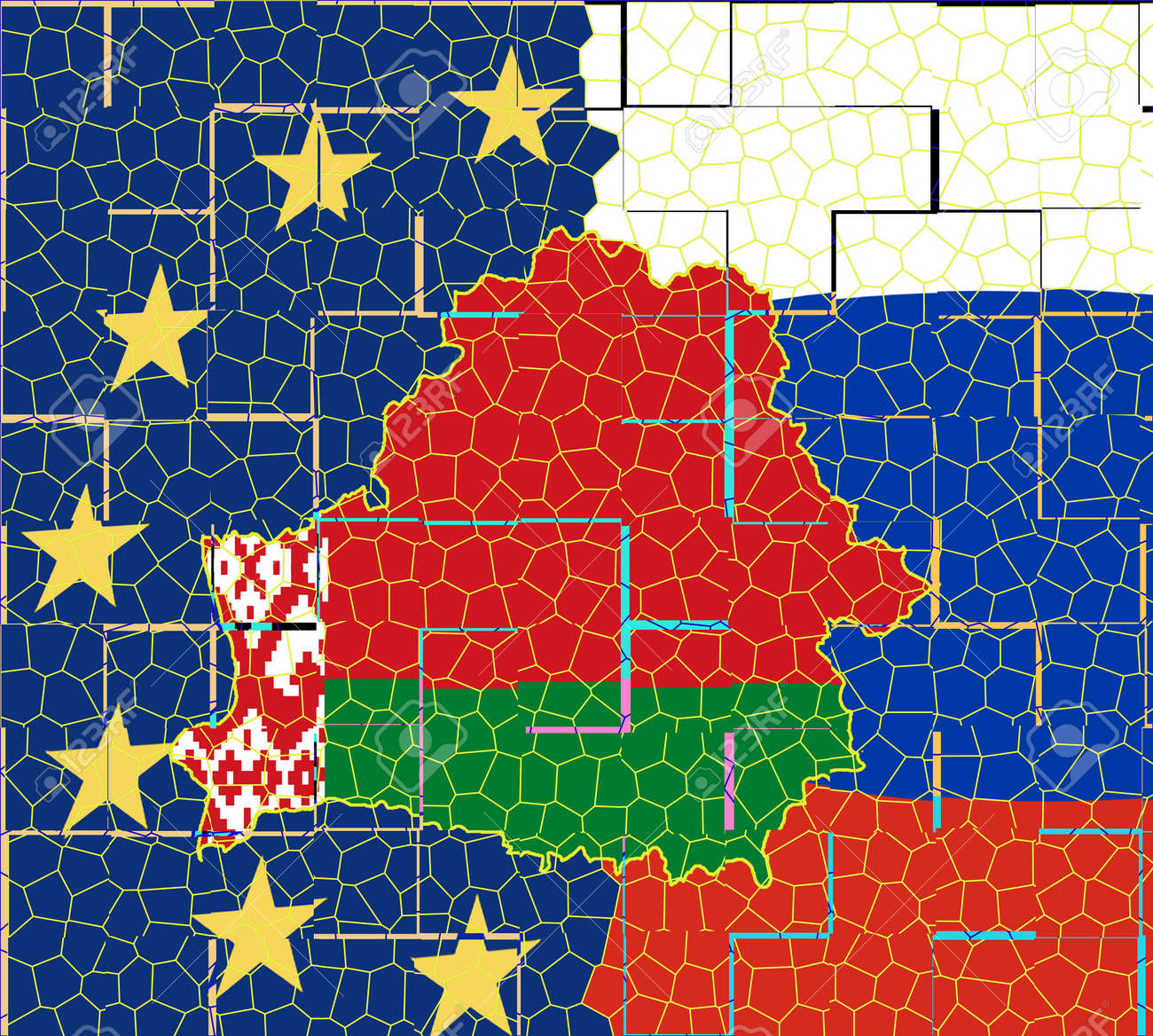 The flag of Belarus is inscribed in the contour map of the country. Map on the background of the flags of European Union and Russia. - 153359117