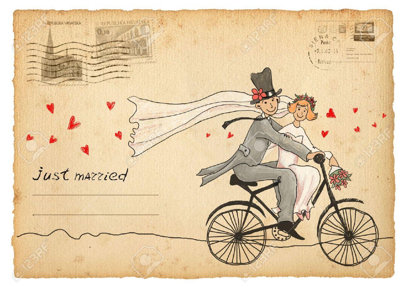 Vintage wedding greetings card. travelling groom and bride on a bicycle - 55112778