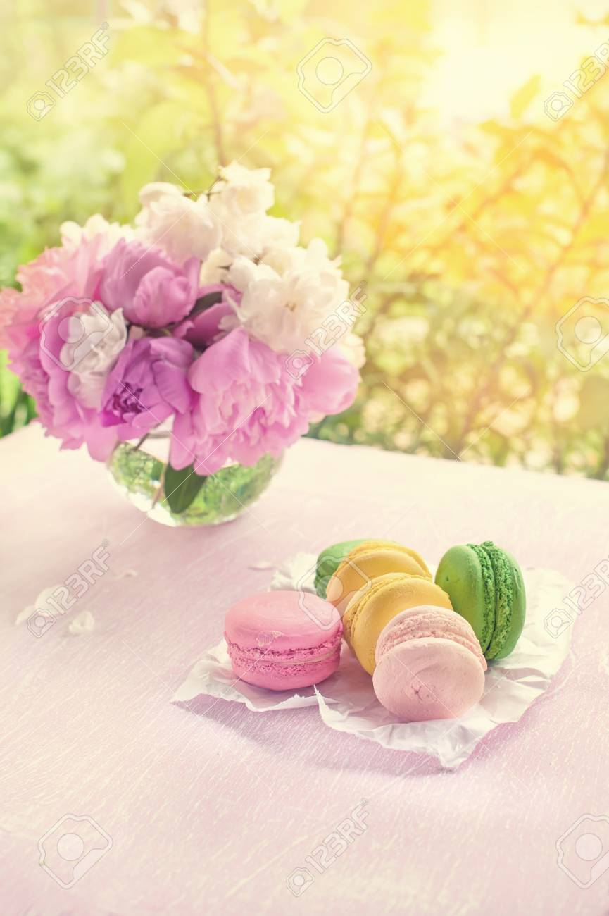 Cookies Of Macaroni Yellow Red Green And Pink Flowers On A
