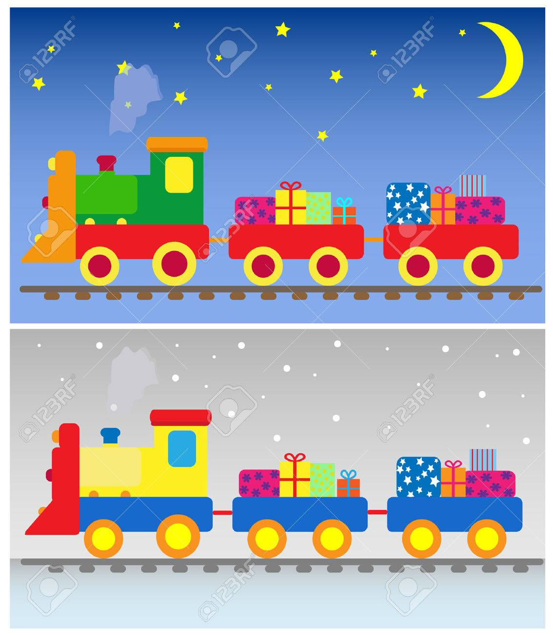 two toy trains with presents Stock Vector - 5889769