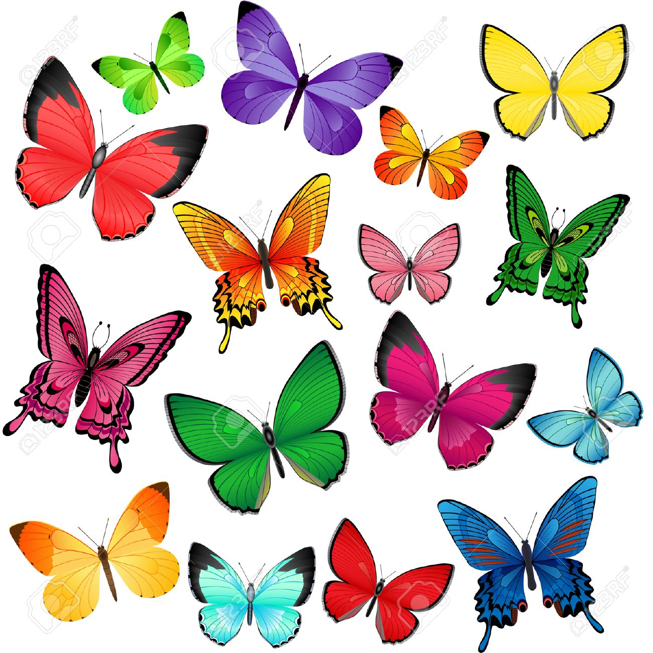 Set of different colored butterflies Stock Vector - 6342969