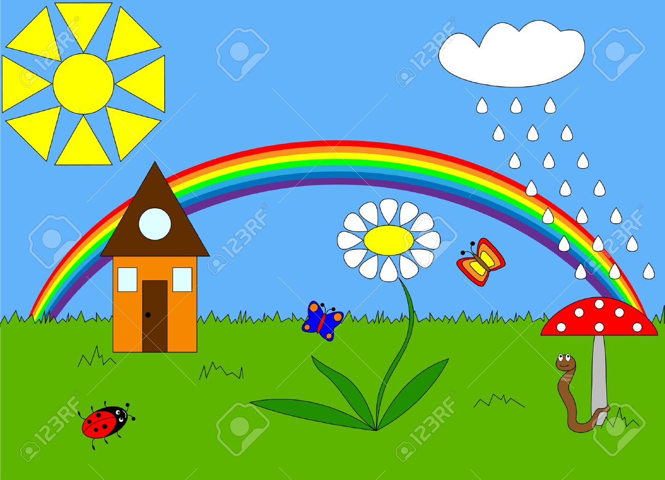 Child's drawing of nature Stock Vector - 9248340