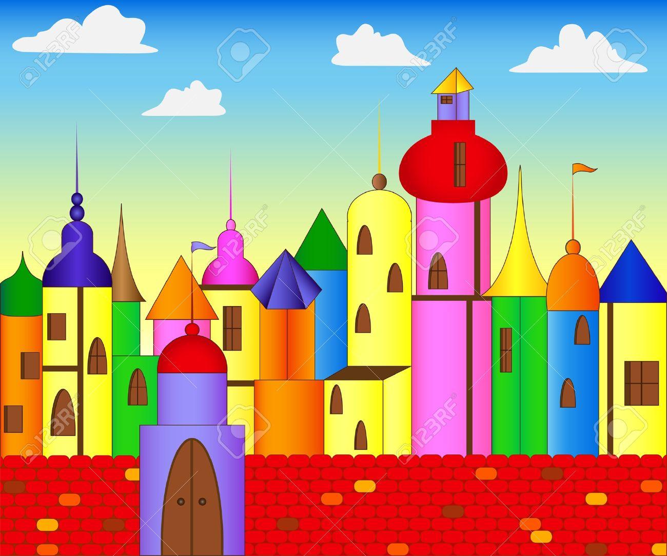 Fairytale colored castle Stock Vector - 10552608