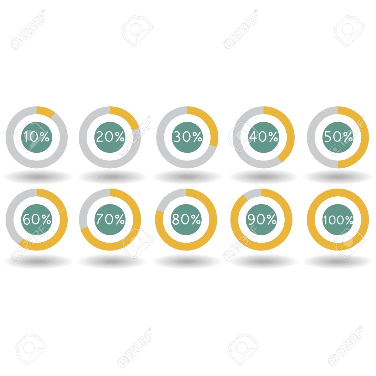 icons pie graph circle percentage yellow chart 10 20 30 40 50