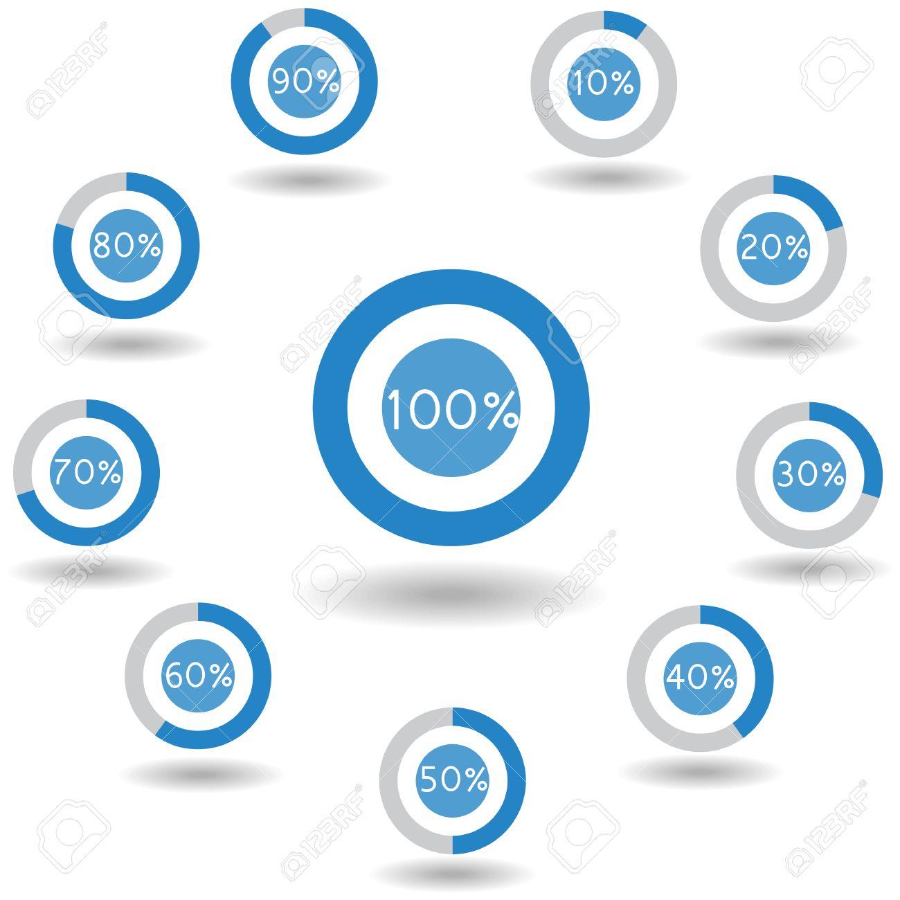 icons pie graph circle percentage blue chart 0 10 20 30 40 50