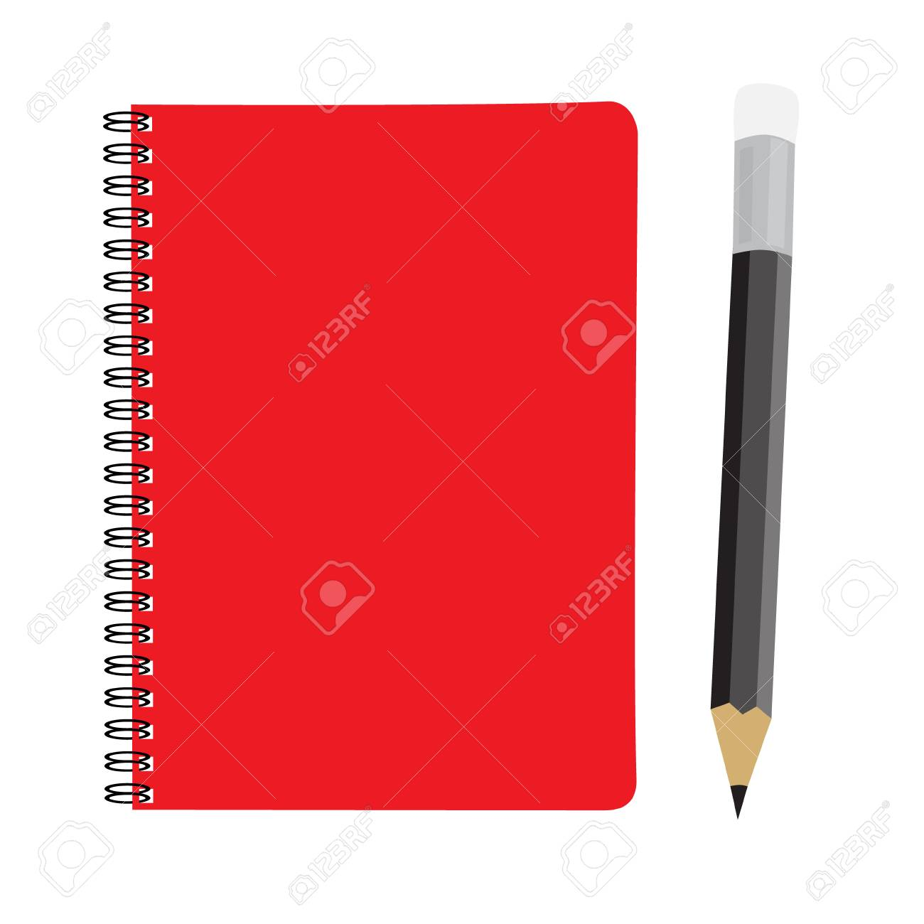 business red note book and pencil set vector illustration royalty