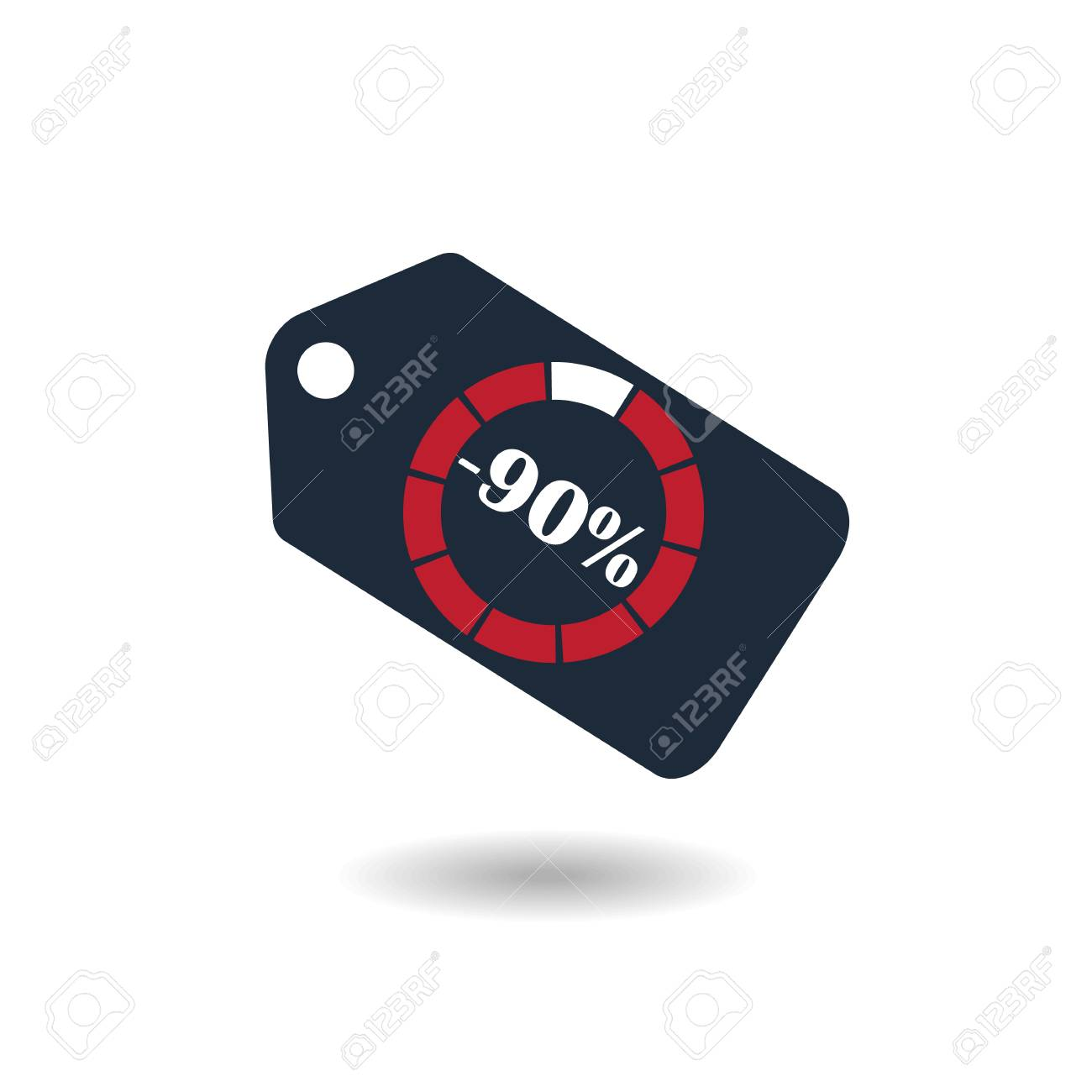 Sale Tag With Pie Chart Diagram Icon 90 Sale Black Isolated