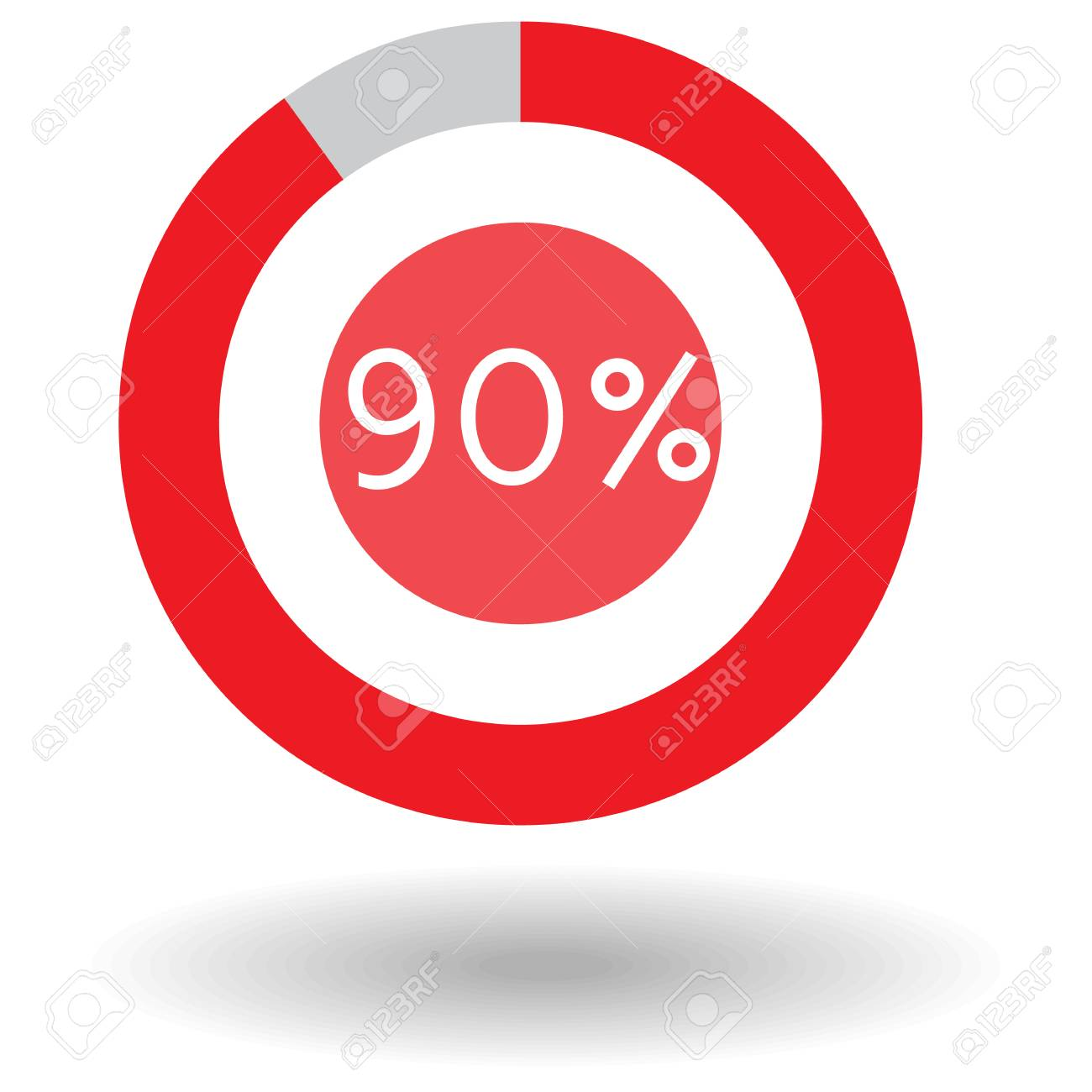 Icon Business Colorful Pie Chart Circle Graph 90 Red Vector