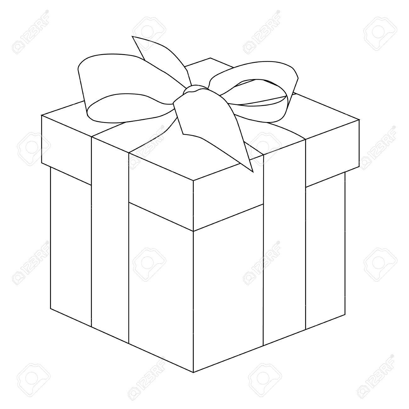 Gift Box Outline Present For Christmas Or Birthday Vector Illustration Stock