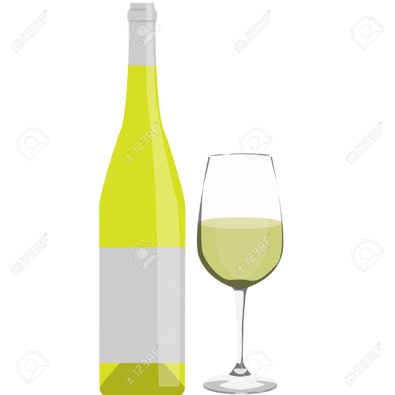 Bouteille de vin blanc avec verre de vin isolé illustration vectorielle