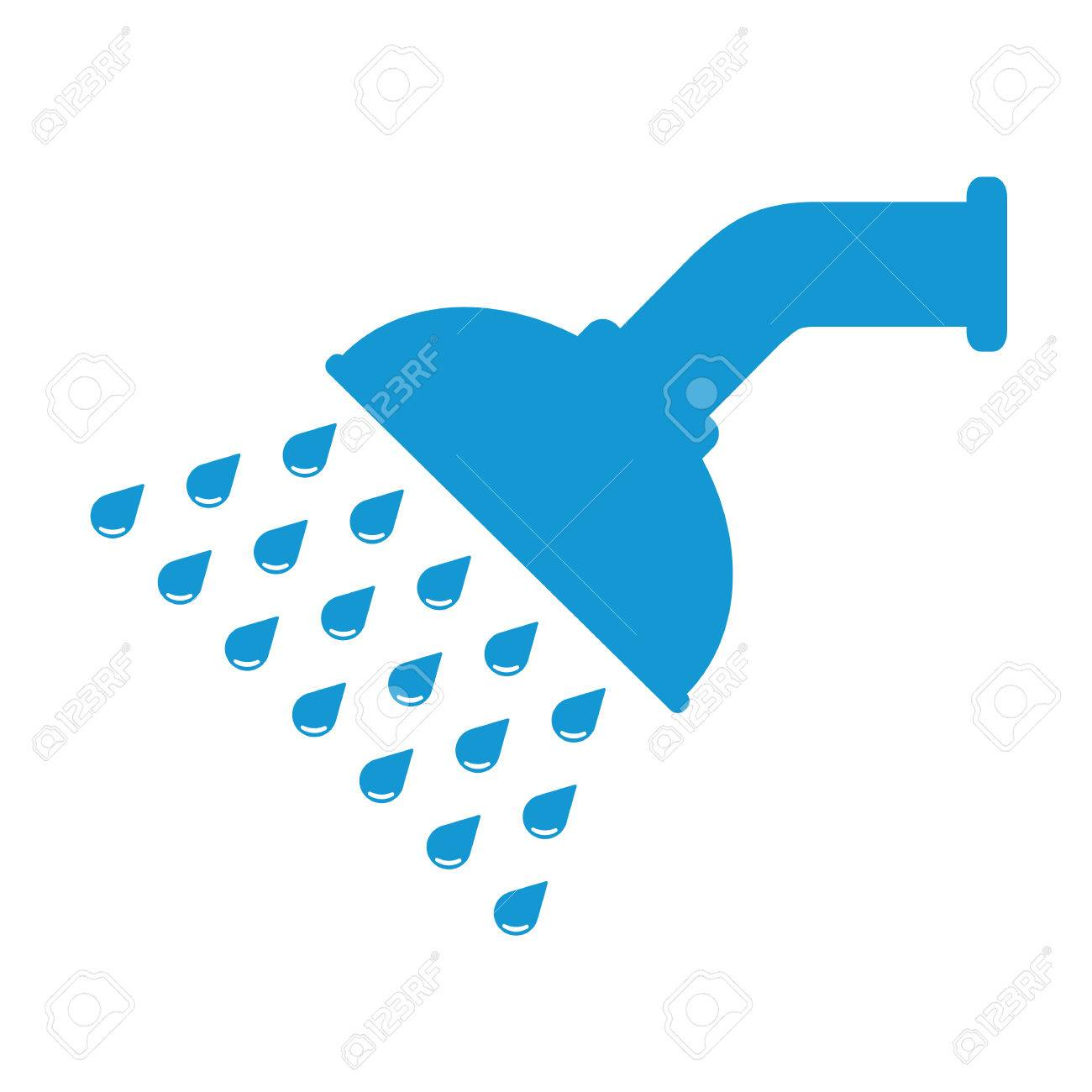 Shower Head In Bathroom With Water Drops Flowing. Blue. Vector ...