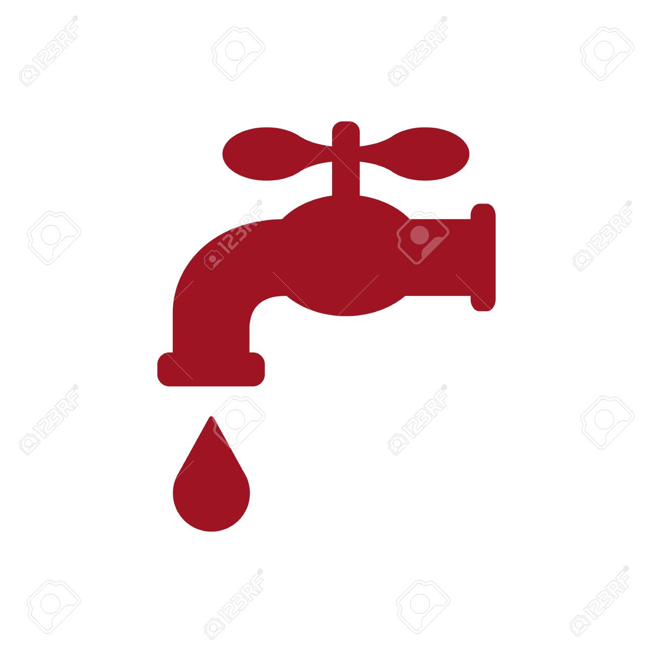 Retro Water Faucet With Drop Icon. Red Silhouette. Vector ...