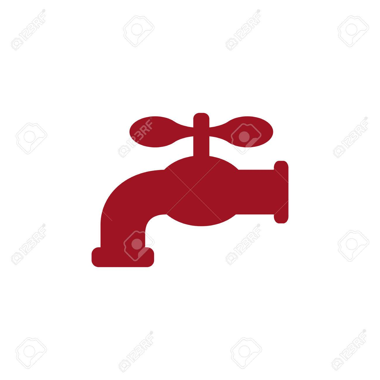 Retro Water Faucet Icon. Red Silhouette. Vector Illustration ...