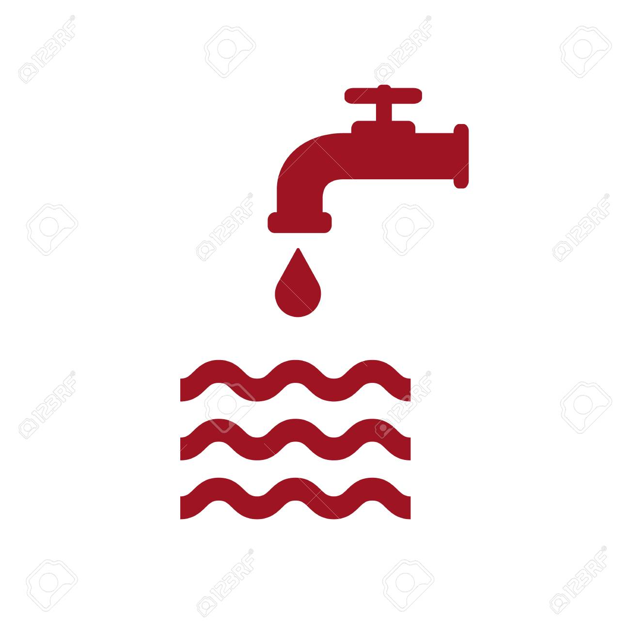 Opened Red Water Faucet With Drop And Water Waves. Flat Icon ...