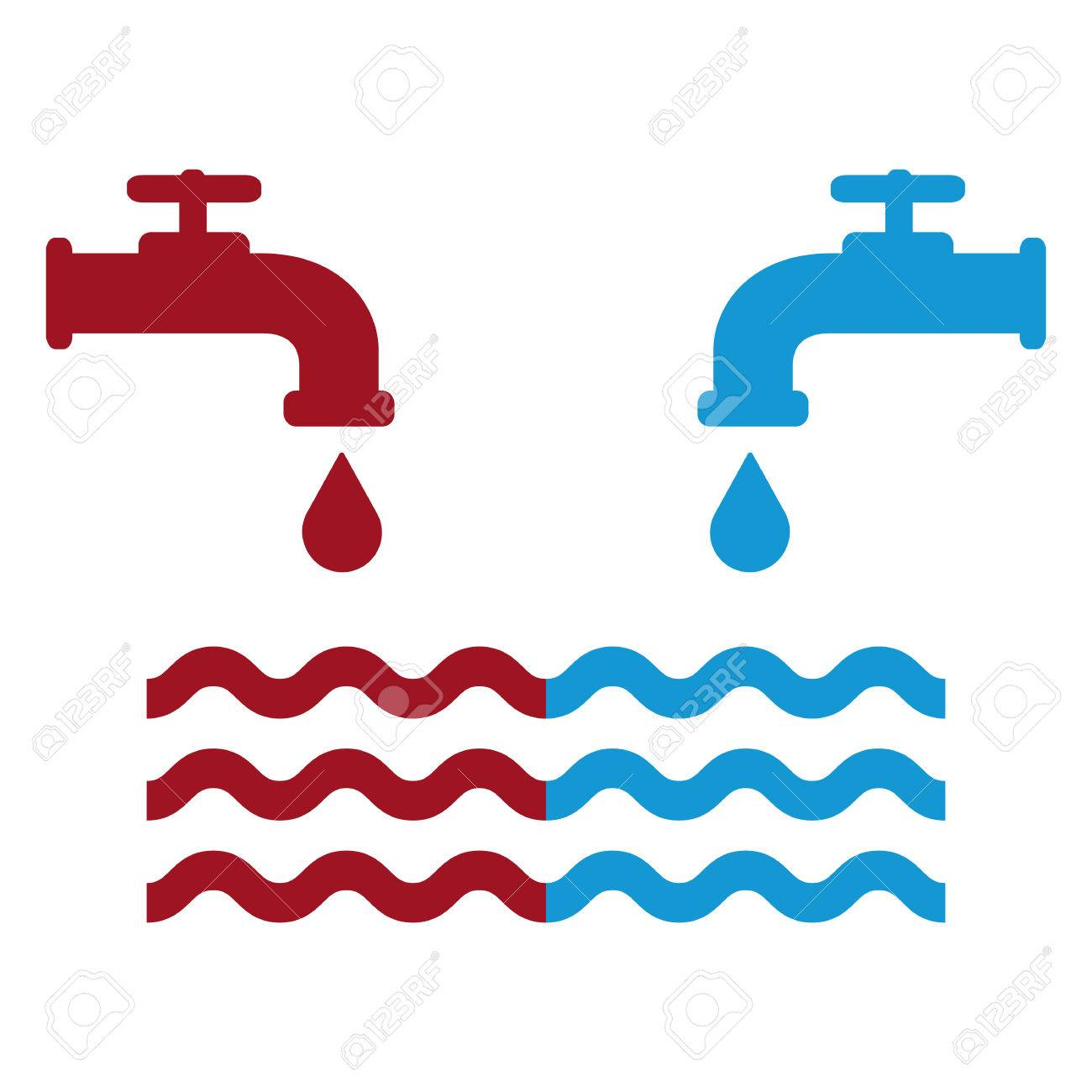 Opened Blue And Red Water Faucets With Drop And Water Waves ...