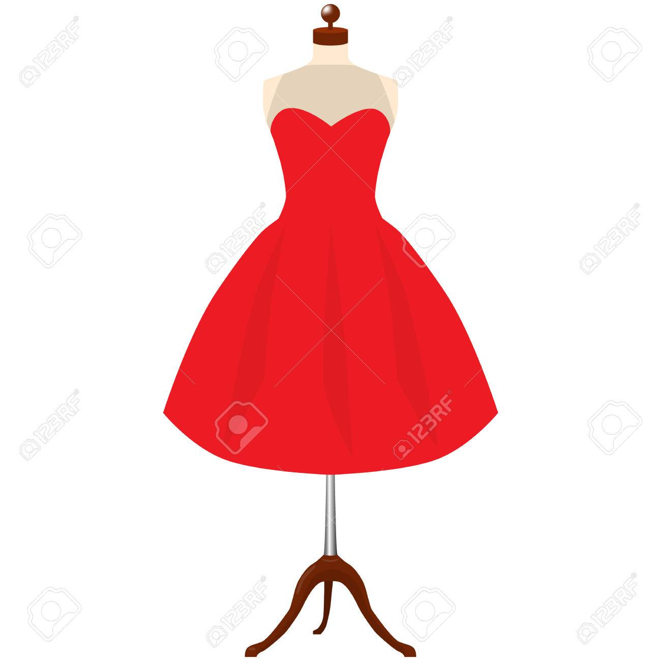 Classic Women\'s Red Dress Template. A Red Dress On Mannequin.. Stock ...