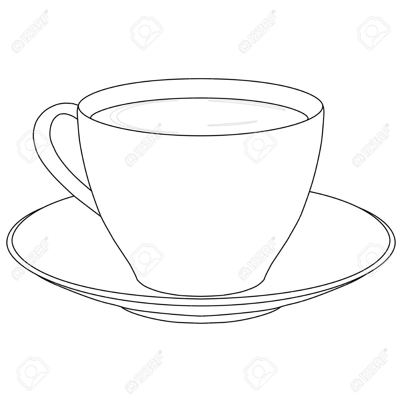 Cup Of Coffee With Saucer Outline Raster Illustration Stock Photo Picture And Royalty Free Image Image 69162766