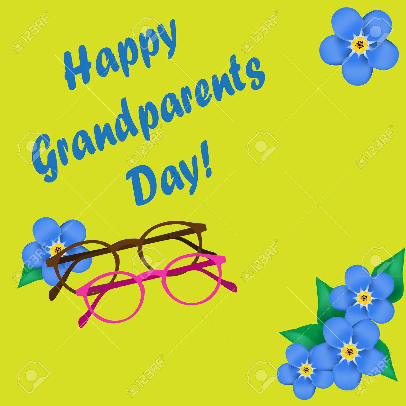 Grandparents day greeting card forget me not googles glasses grandparents day greeting card forget me not googles glasses yellow font m4hsunfo
