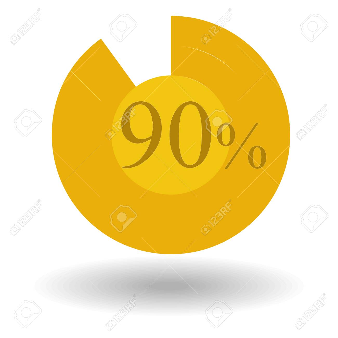 Business Colorful Graph Pie Chart Circle Graph 90 Gold