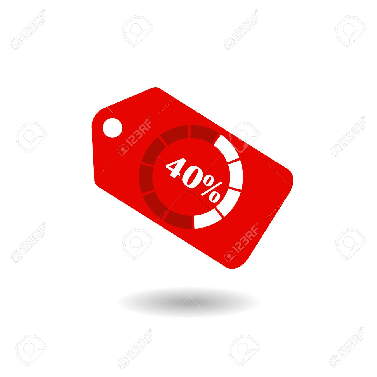 Sale Tag With Pie Chart Diagram Icon 40 Sale Red Isolated With