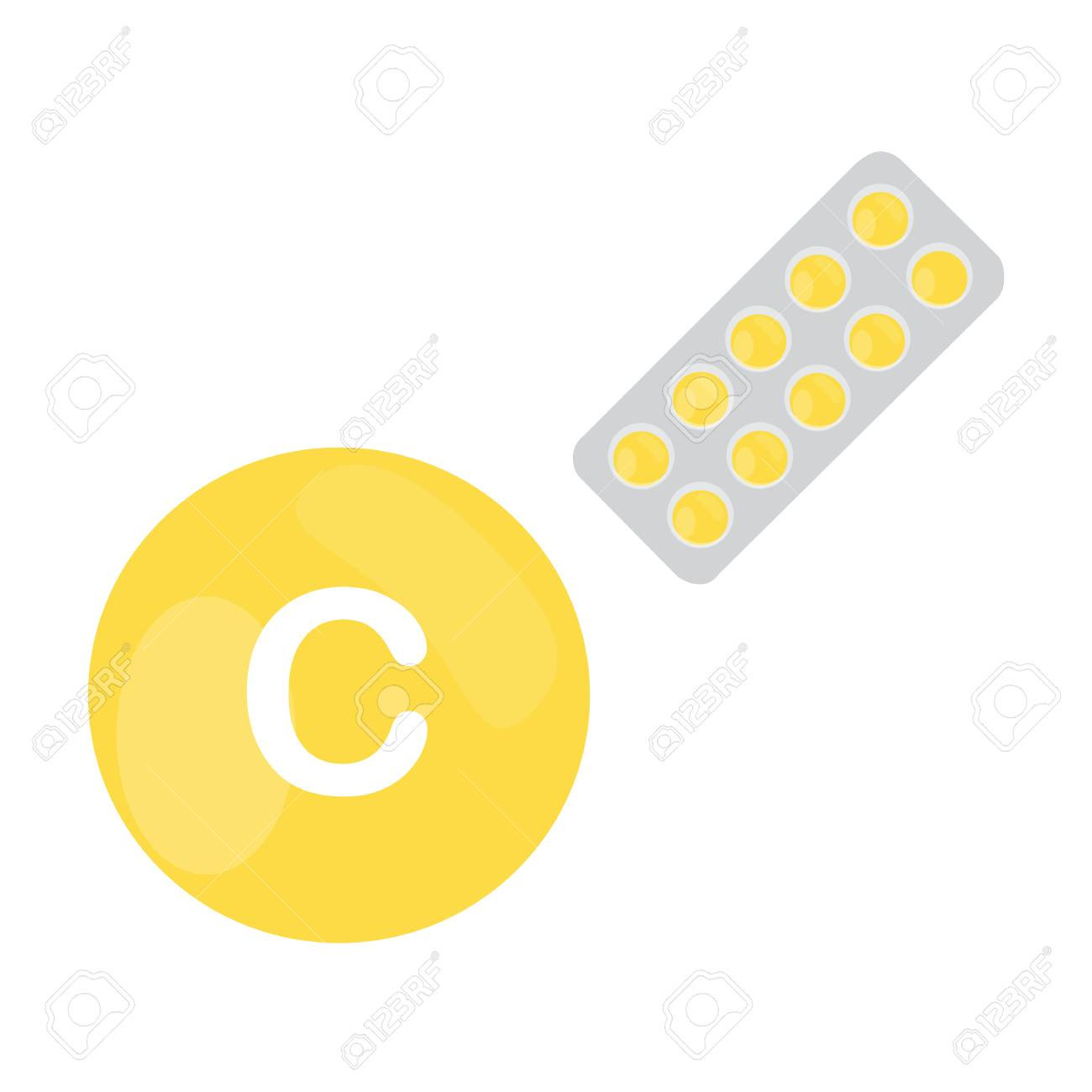 Vitamin C With Blister Of Pills Tablets Capsules Yellow Circle
