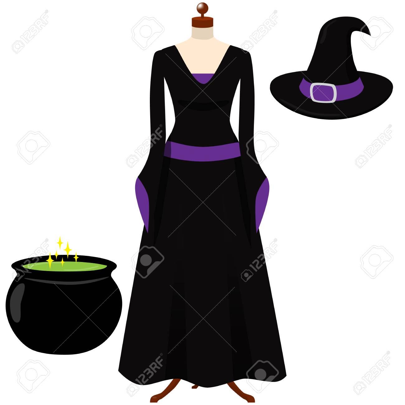 Vestido negro y morado