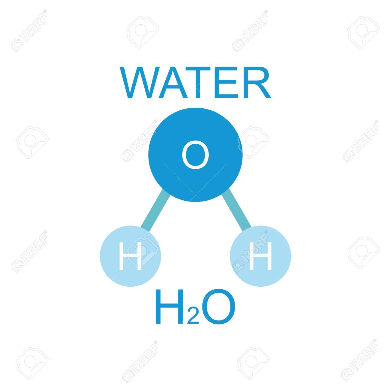 Compuesto Inorgánico Natural Del Agua Estructura Molecular Del Agua Ilustración Vectorial