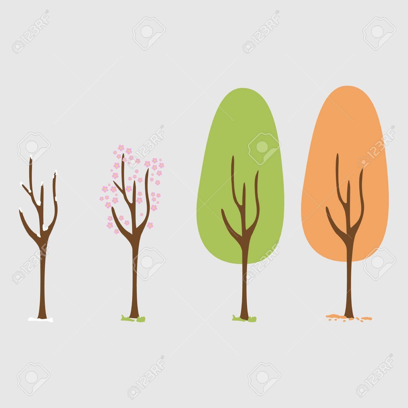 Four Seasons Spring Summer Autumn Winter Art Tree Tree