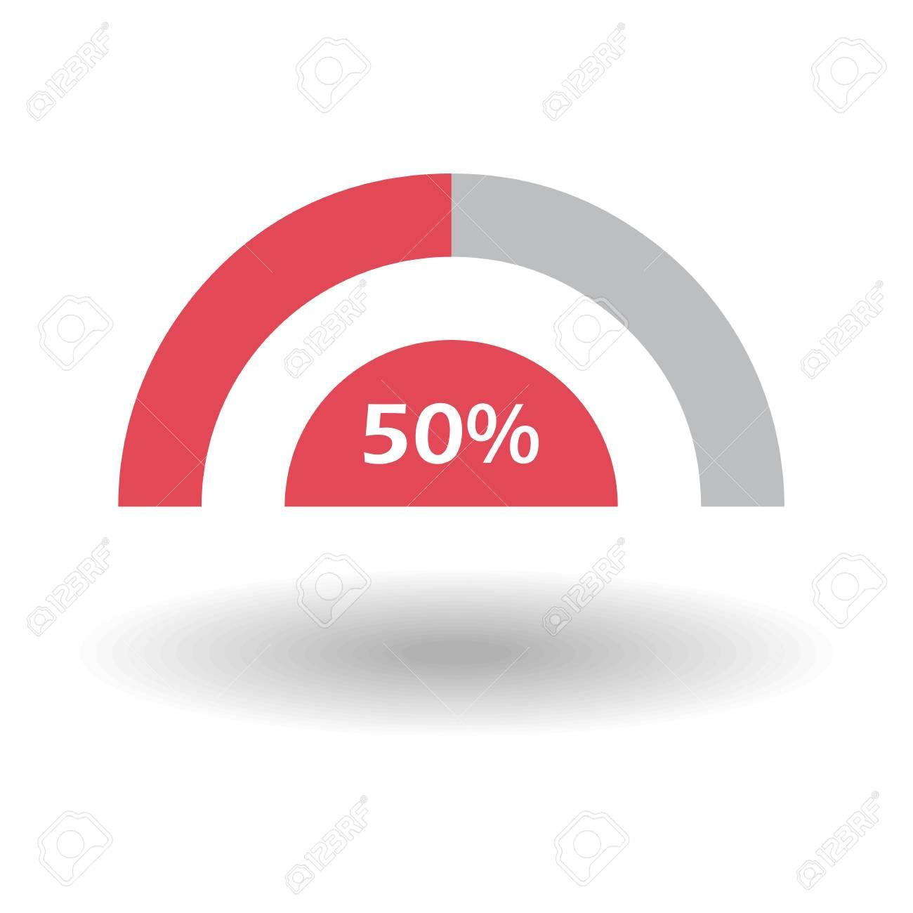 Vorlage Geschäft Bunte Grafik. Pie-Halbkreis-Diagrammgraph 50% Rot ...