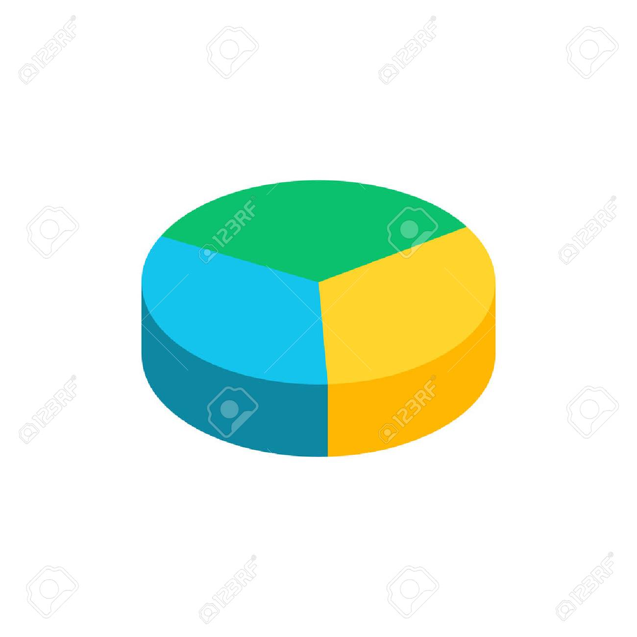 bulk isometric pie graph. template realistic three-dimensional