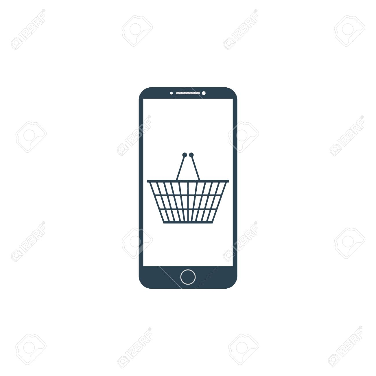 e3d3bb802e3 Smartphone with shopping basket on the screen. Mobile phone shopping or online  shopping with cart