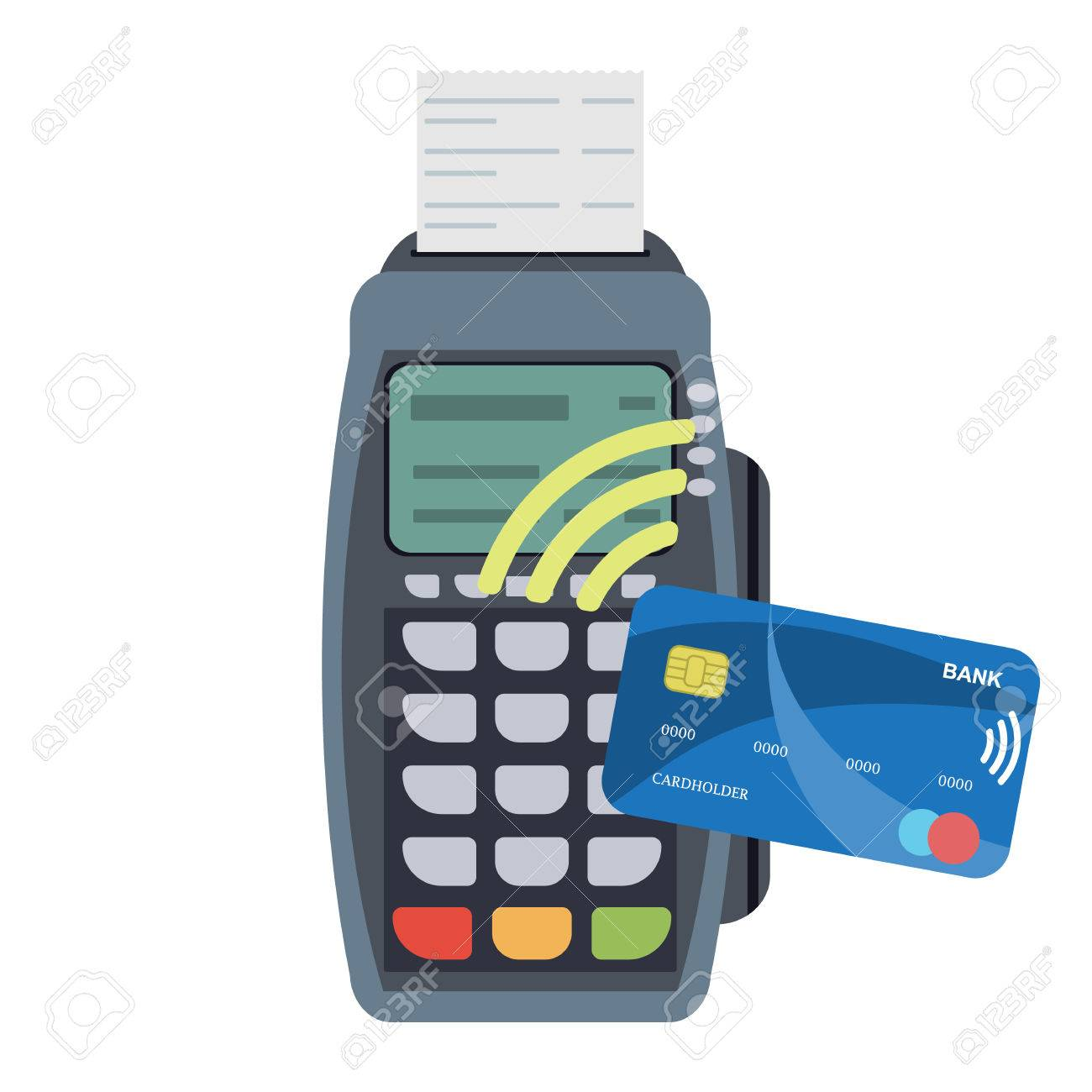 POS Terminal. Payment Terminal With Receipt And Credit Card With ...