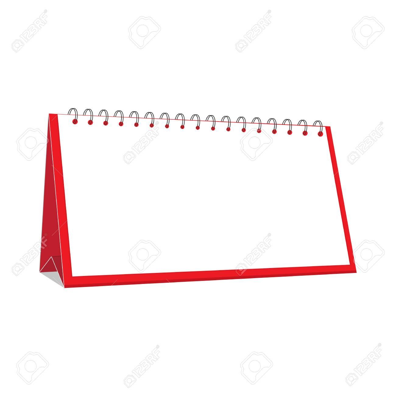 Red Blank Desktop Calendar Isolated On White Background. Office ...
