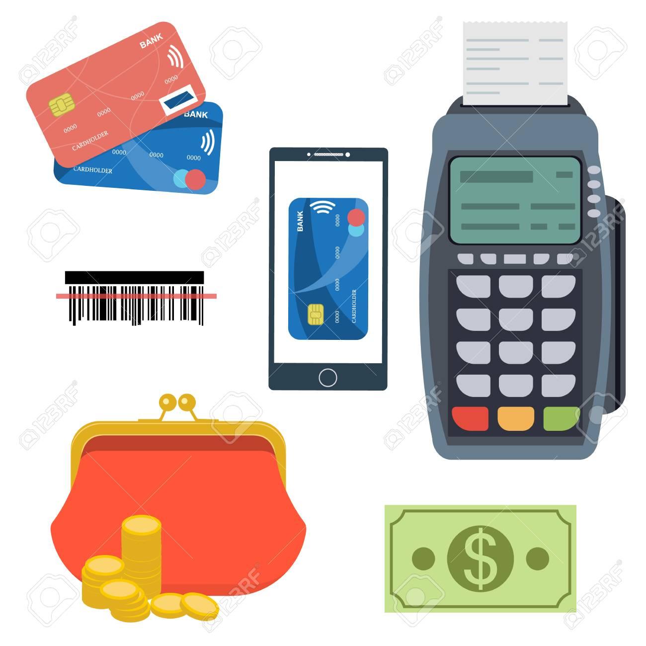 Paiement Et Jeu Bancaire Tout Pour Les Paiements D Affaires Terminal De Paiement Pos Code A Barres Recu Porte Monnaie Cartes De Credit Paiement