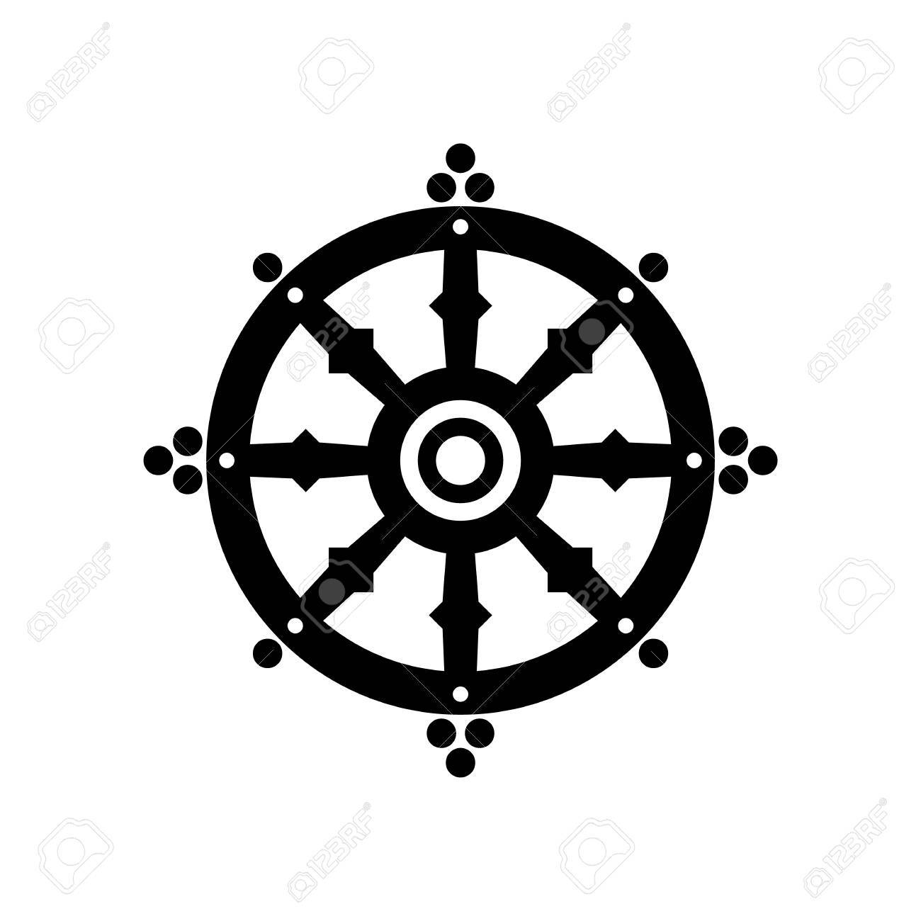 Dharma wheel of fortune spirituality buddhism religious symbol dharma wheel of fortune spirituality buddhism religious symbol vector illustration stock vector buycottarizona