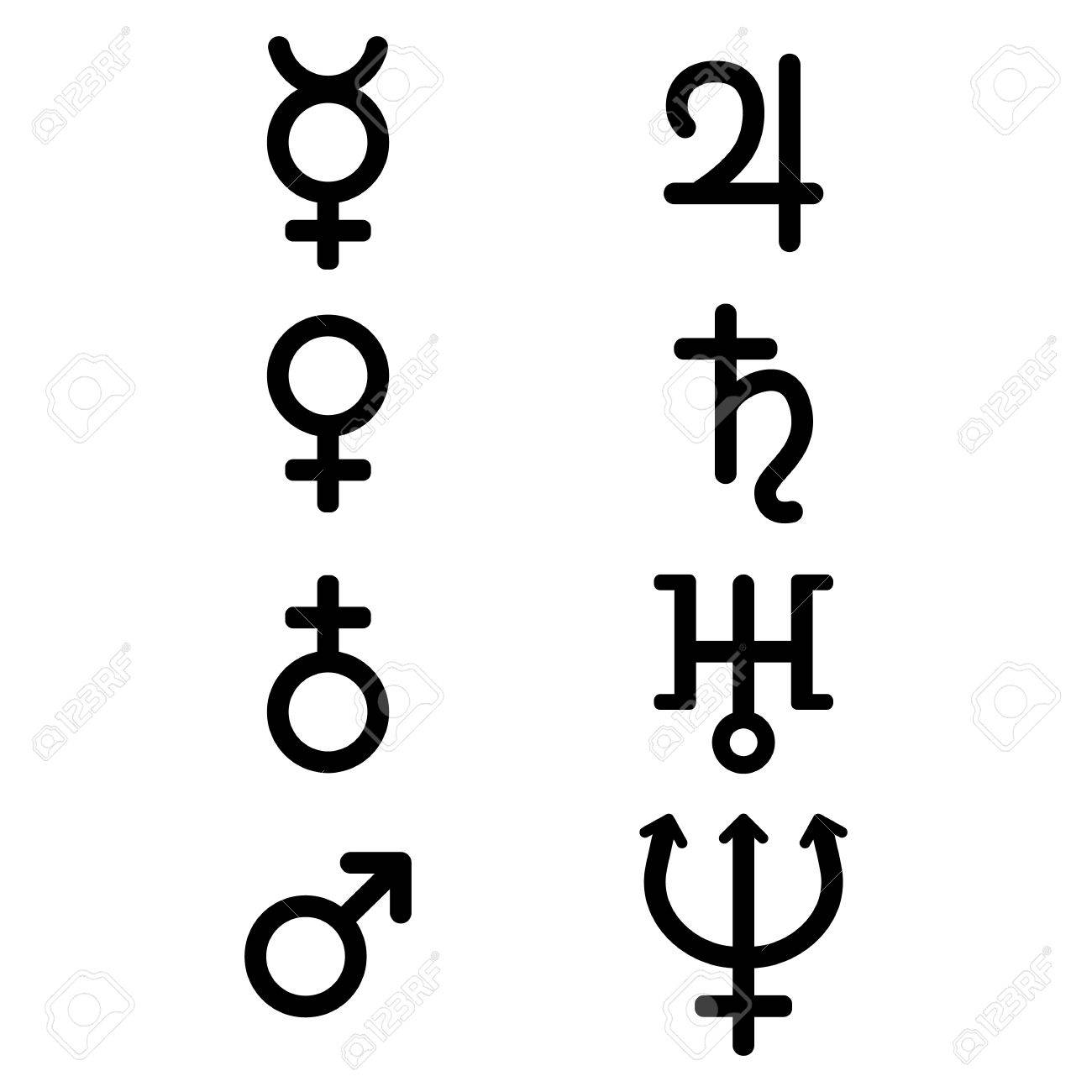 Planet Astrological Symbols And Signs Set Zodiac And Astrology