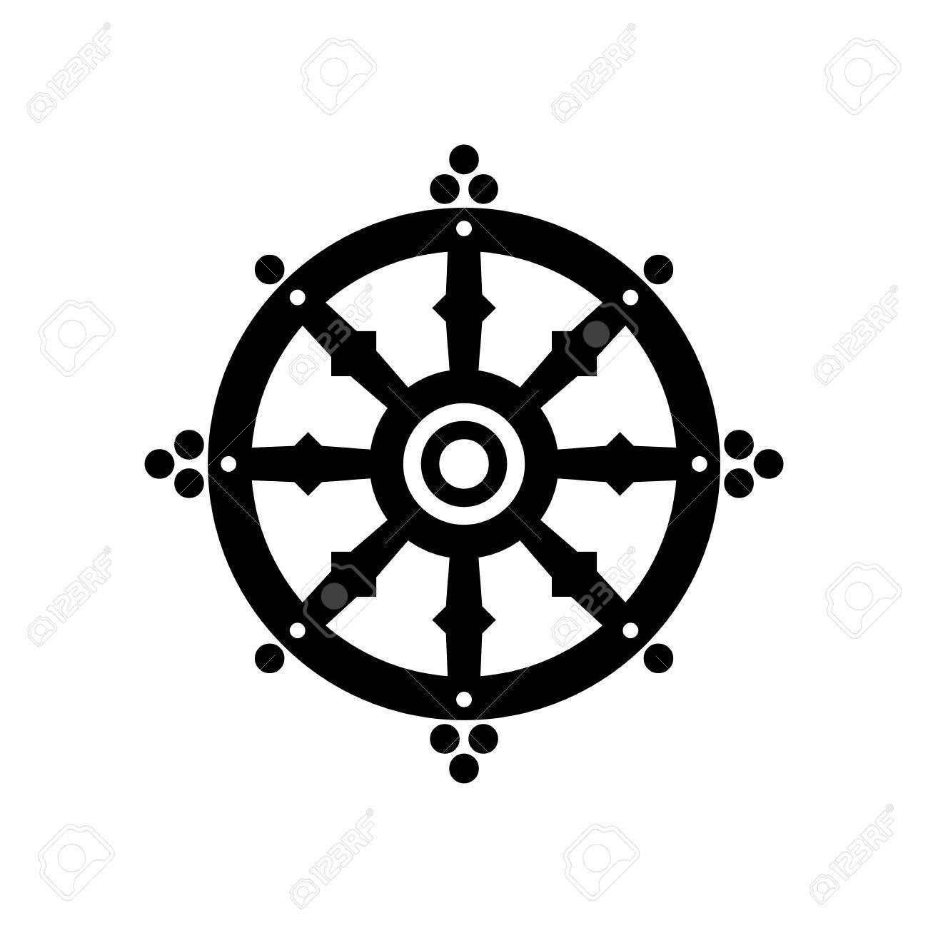 Berühmt Dharma-Glücksrad, Spiritualität, Religiöses Symbol Des Buddhismus @AI_01