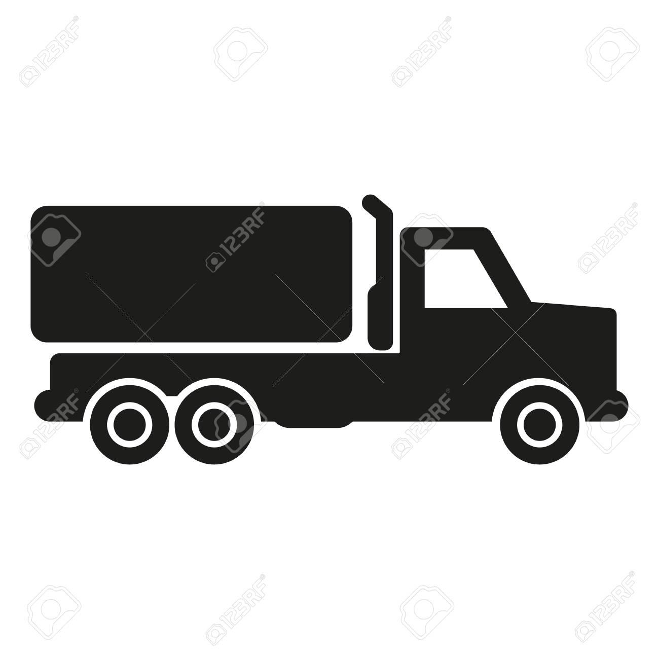 Camión Con Silueta De Icono Simple De Carga Sobre Fondo Blanco ...