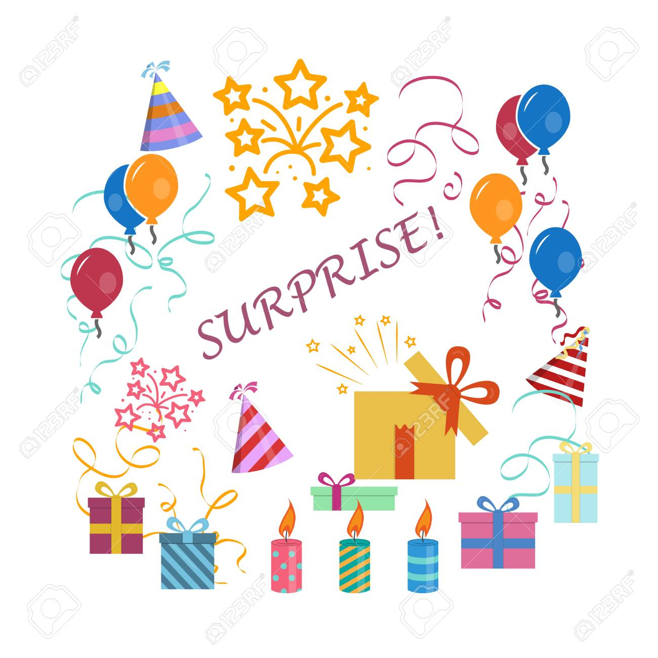 Ilustración De La Trama De La Tarjeta De Felicitación Para Cumpleaños Cartel De Invitación Sorpresa Feliz Cumpleaños Celebración De Objetos Y